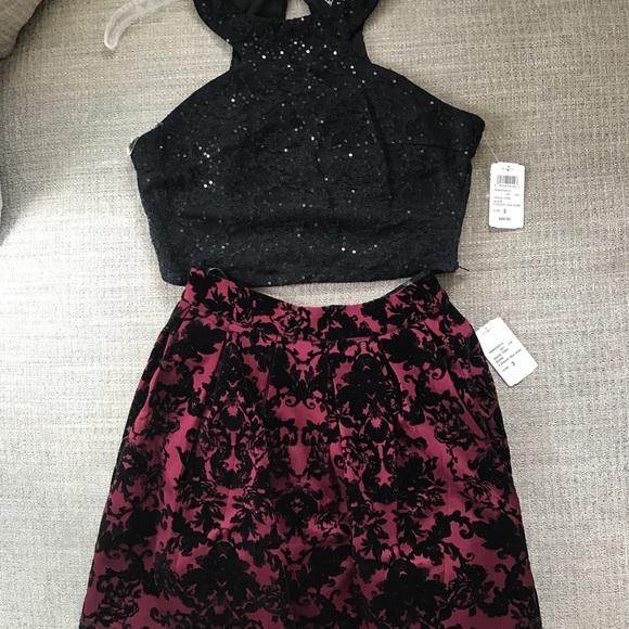 4da37ce8ae93 Windsor Dresses | Two Piece Black Sequin Burgundy Dress 3 | Poshmark